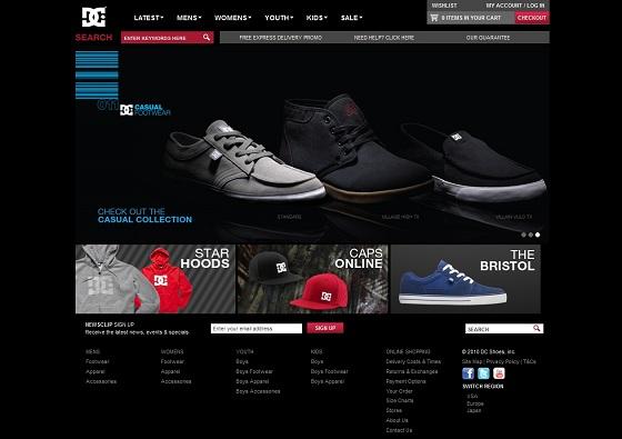 18 grandes marques sous magento : DC shoes réalise